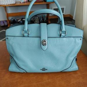 Coach Mercer satchel in cornflower blue leather